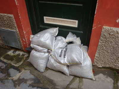 These are sand bags at the ready!